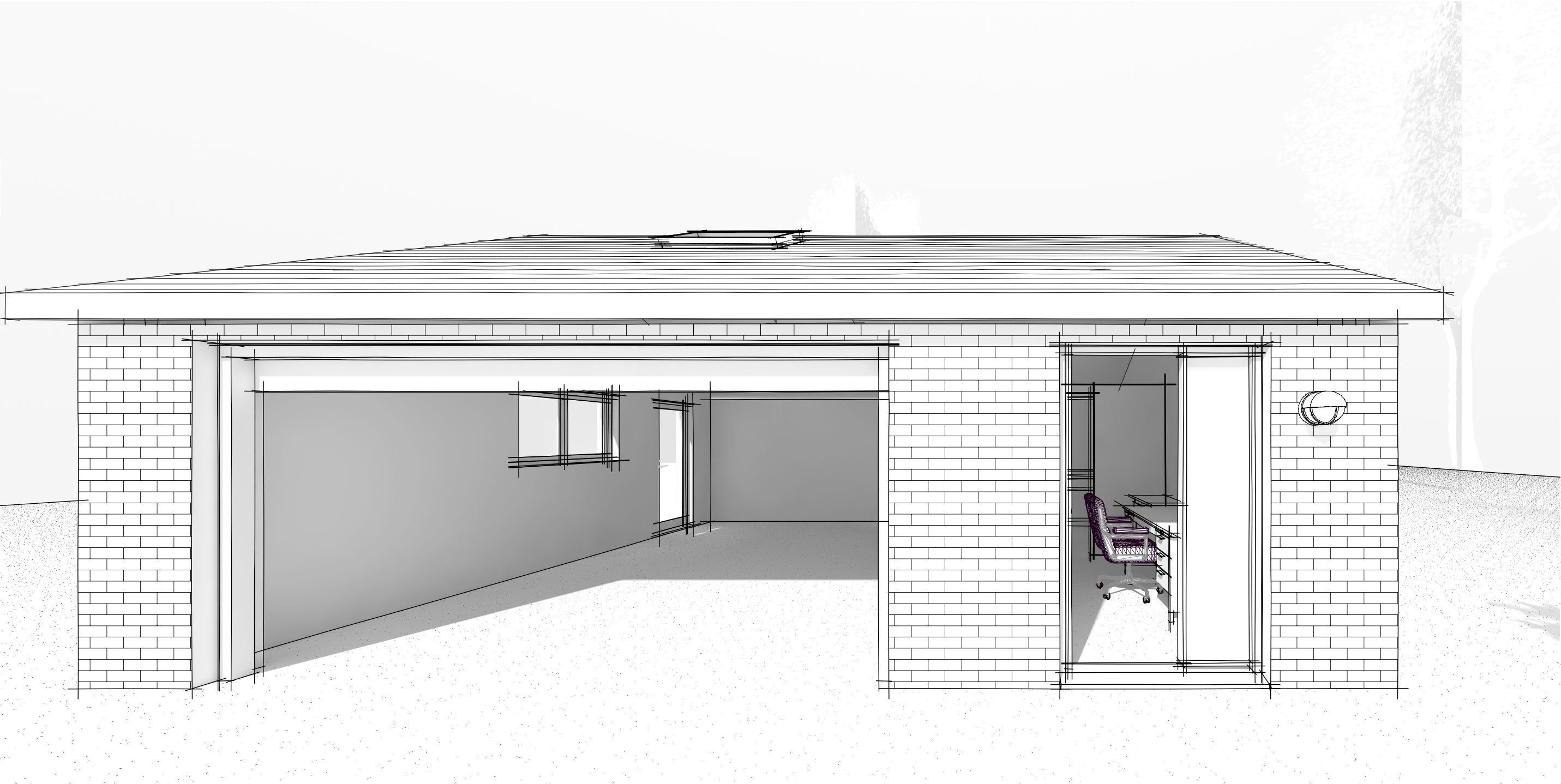 sketch of a new build garage in hampshire